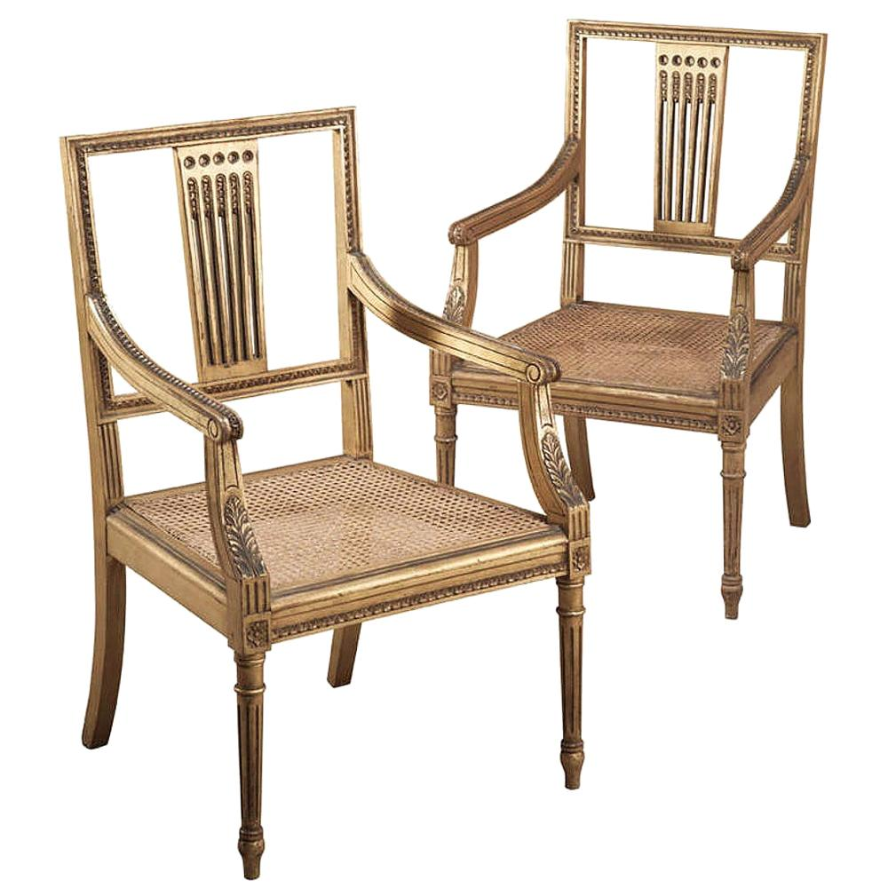 Pair of 19th Century Swedish Neoclassical Giltwood Armchairs