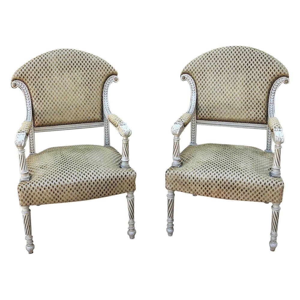 Pair of 19th Century Swedish Painted Armchairs