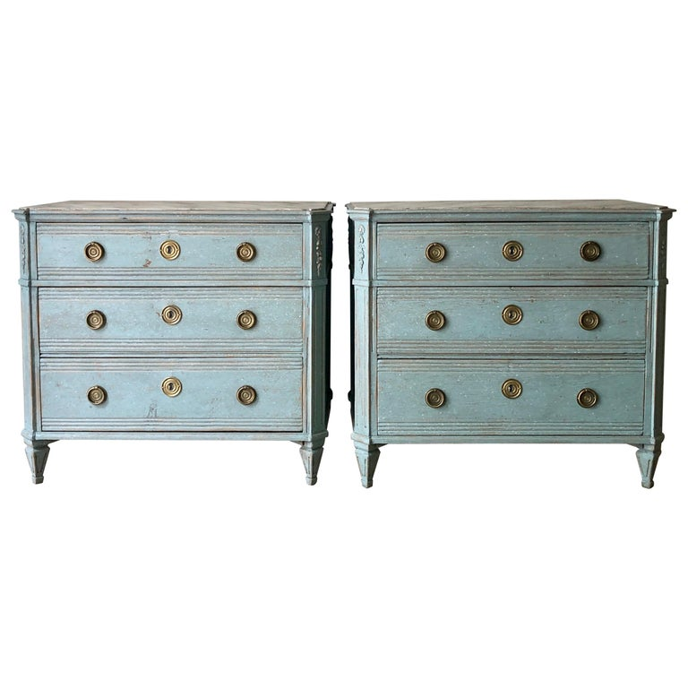 Pair of 19th Century Swedish Painted Chest of Drawers For Sale