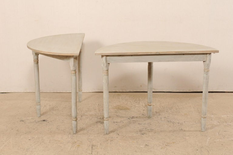 Pair of 19th Century Swedish Painted Demi-Lune Console Tables 4