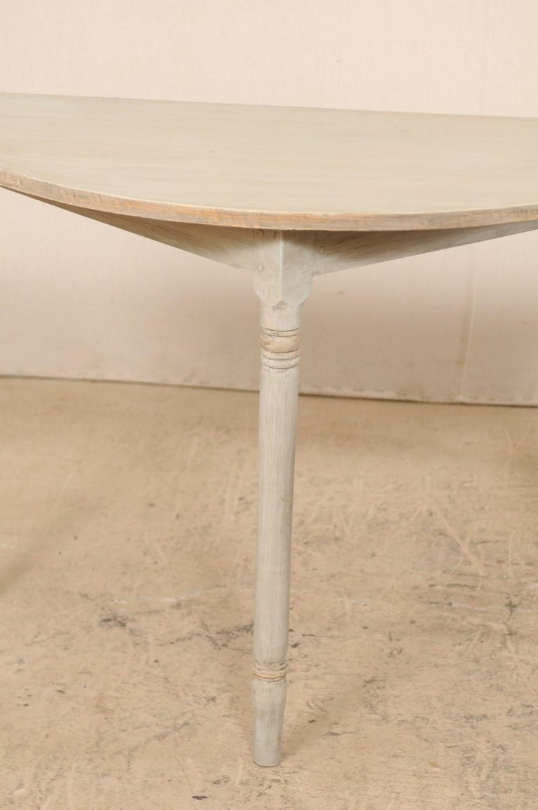 Pair of 19th Century Swedish Painted Demi-Lune Console Tables 5