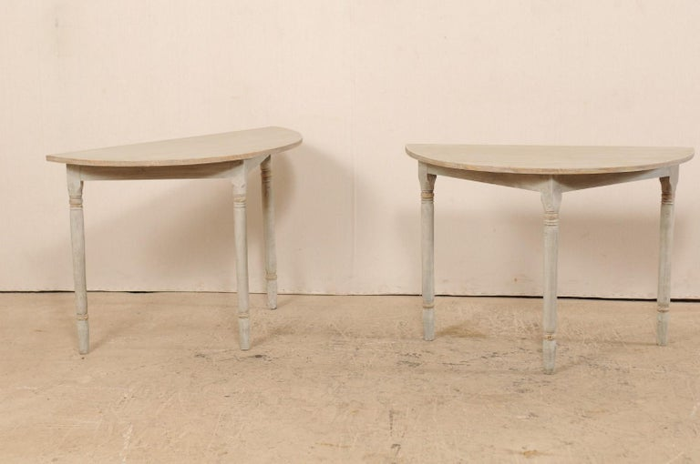 Gustavian Pair of 19th Century Swedish Painted Demi-Lune Console Tables