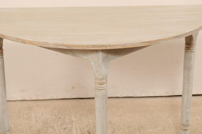 Pair of 19th Century Swedish Painted Demi-Lune Console Tables In Good Condition In Atlanta, GA
