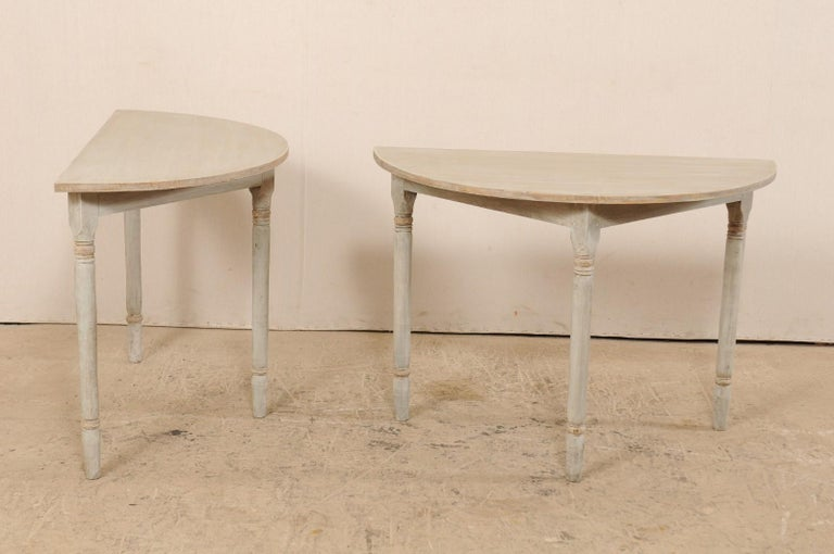 Pair of 19th Century Swedish Painted Demi-Lune Console Tables 1