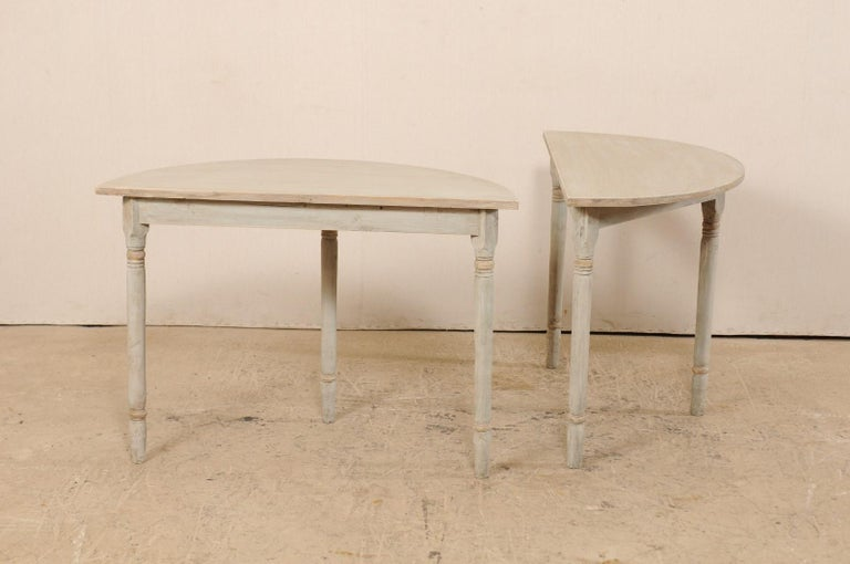 Pair of 19th Century Swedish Painted Demi-Lune Console Tables 2