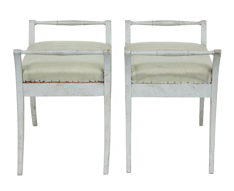 Gustavian Pair of 19th Century Swedish Painted Stools For Sale