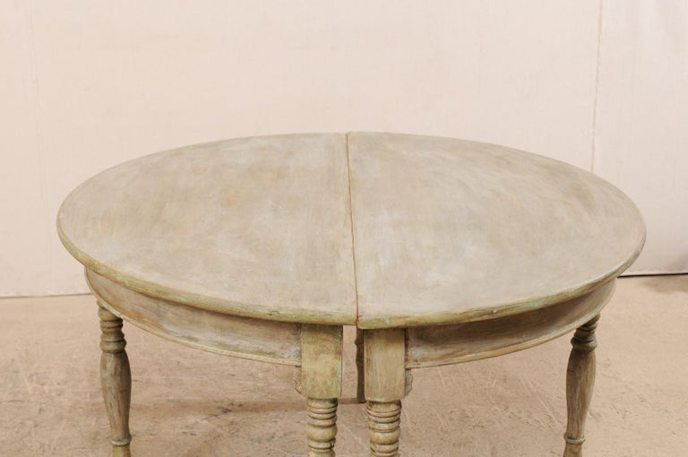 Pair of 19th Century Swedish Painted Wood Demilune Tables For Sale 5