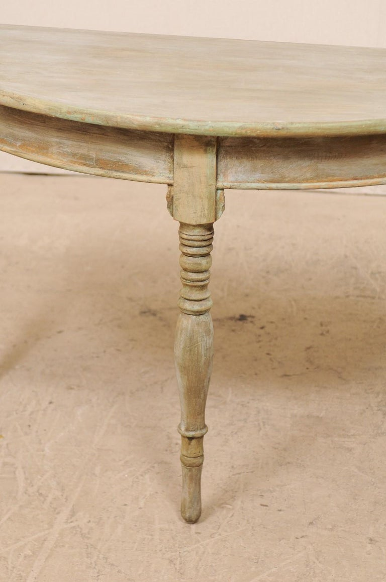 Pair of 19th Century Swedish Painted Wood Demilune Tables For Sale 6