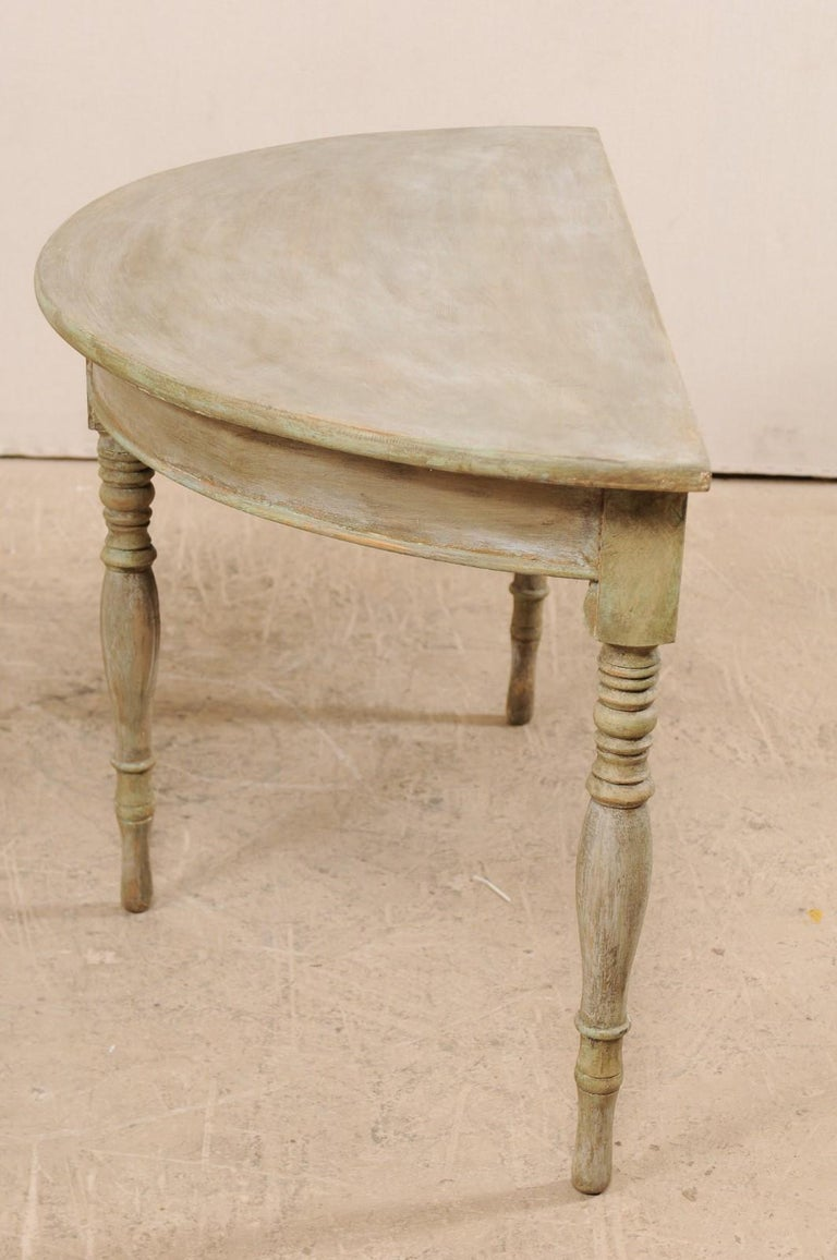 Gustavian Pair of 19th Century Swedish Painted Wood Demilune Tables For Sale