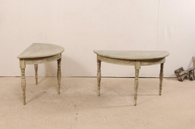Carved Pair of 19th Century Swedish Painted Wood Demilune Tables For Sale