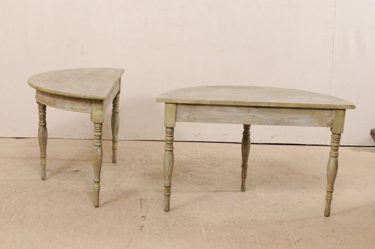 Pair of 19th Century Swedish Painted Wood Demilune Tables In Good Condition For Sale In Atlanta, GA