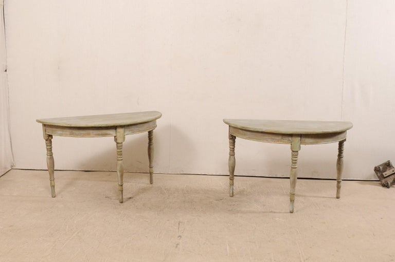 Pair of 19th Century Swedish Painted Wood Demilune Tables For Sale 1