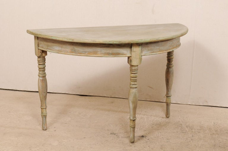 Pair of 19th Century Swedish Painted Wood Demilune Tables For Sale 2