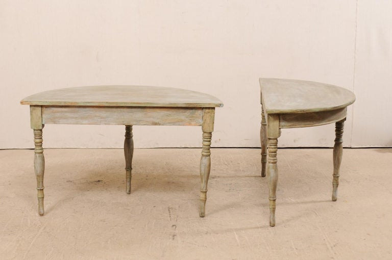 Pair of 19th Century Swedish Painted Wood Demilune Tables For Sale 3