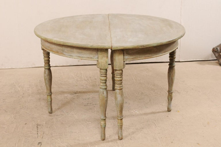 Pair of 19th Century Swedish Painted Wood Demilune Tables For Sale 4