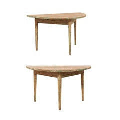 Pair of 19th Century Swedish Painted Wood Demilune Tables