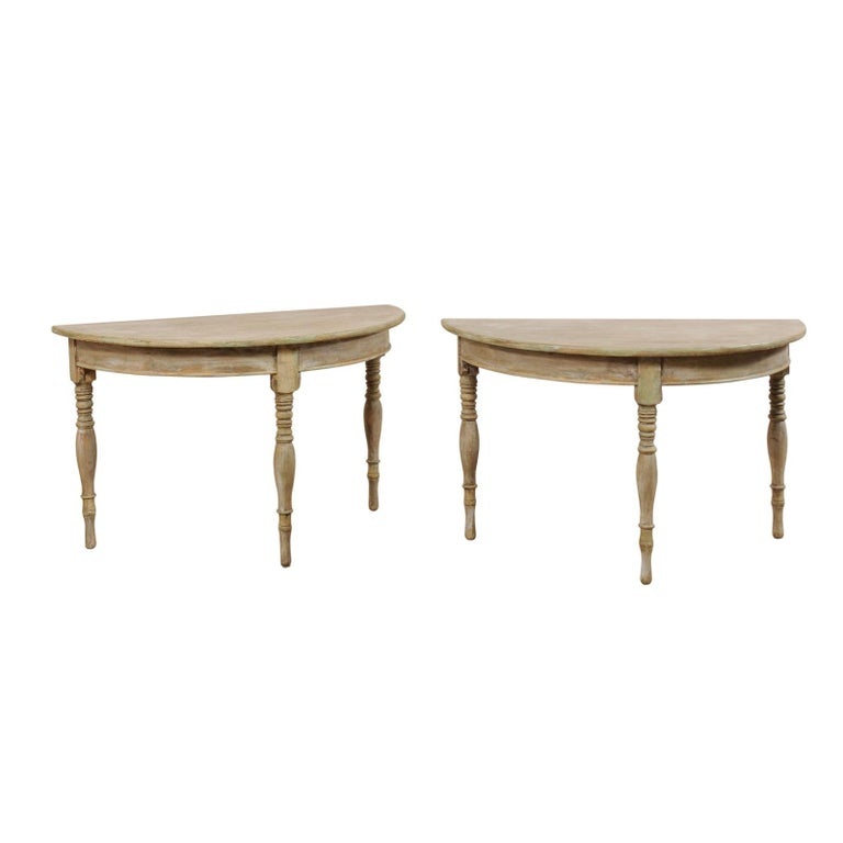 Pair of 19th Century Swedish Painted Wood Demilune Tables For Sale