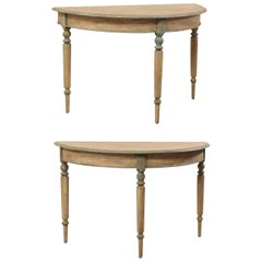 Pair of 19th Century Swedish Painted Wood Demi-Lune Tables with Turned Legs