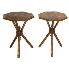 Pair of 19th Century Swedish Pine Bobbin Turned Gypsy Side Tables Scandinavian