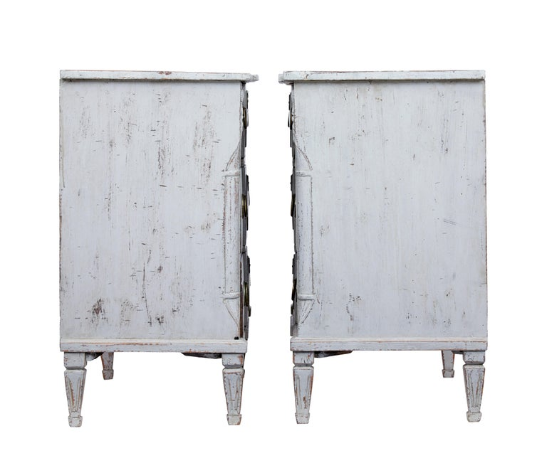 Pair of 19th Century Swedish Pine Painted Commodes In Good Condition For Sale In Debenham, Suffolk