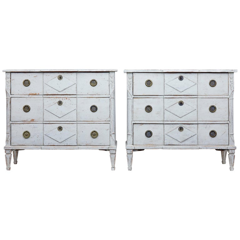Pair of 19th Century Swedish Pine Painted Commodes For Sale