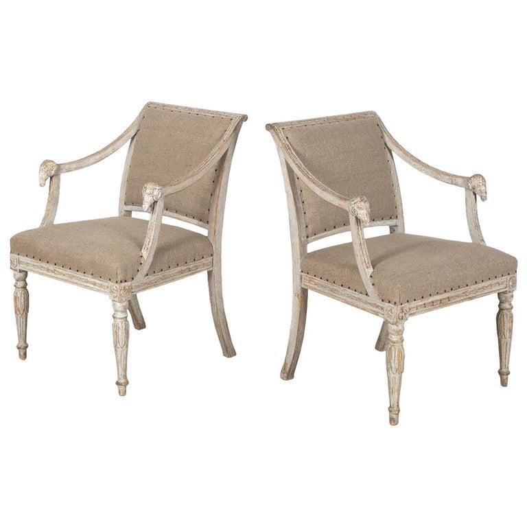 Pair of 19th Century Swedish Ram Head Chairs For Sale
