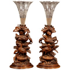 Pair of 19th Century Swiss Black Forest Carved Walnut and Cut Glass Vases