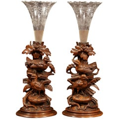 Pair of 19th Century Swiss Black Forest Carved Walnut Vases with Cut Glass