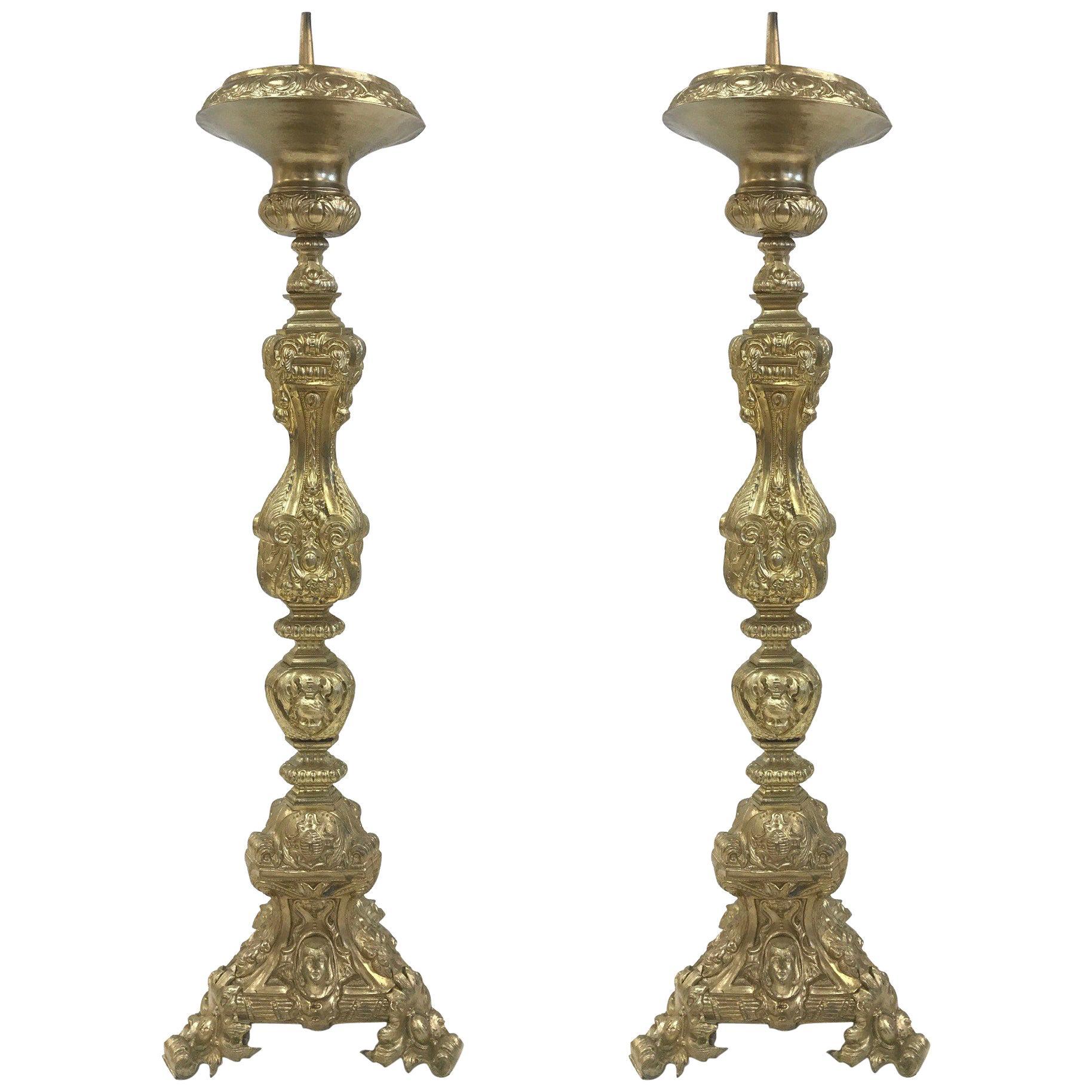 Pair of 19th Century Tall Brass Italian Pricket Sticks