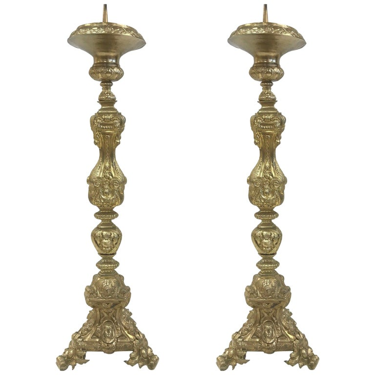 Pair of 19th Century Tall Brass Italian Pricket Sticks For Sale
