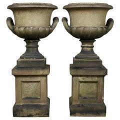 Pair of 19th Century Terracotta Pulham 'Inverness Urns' on Pedestals