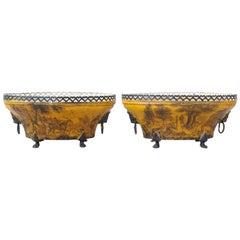 Pair of 19th Century Tole Pierced Work Oval Jardiniere