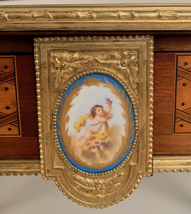 Louis XVI Pair of 19th Century Trellis and Dot Tables Attributed to Donald Ross For Sale