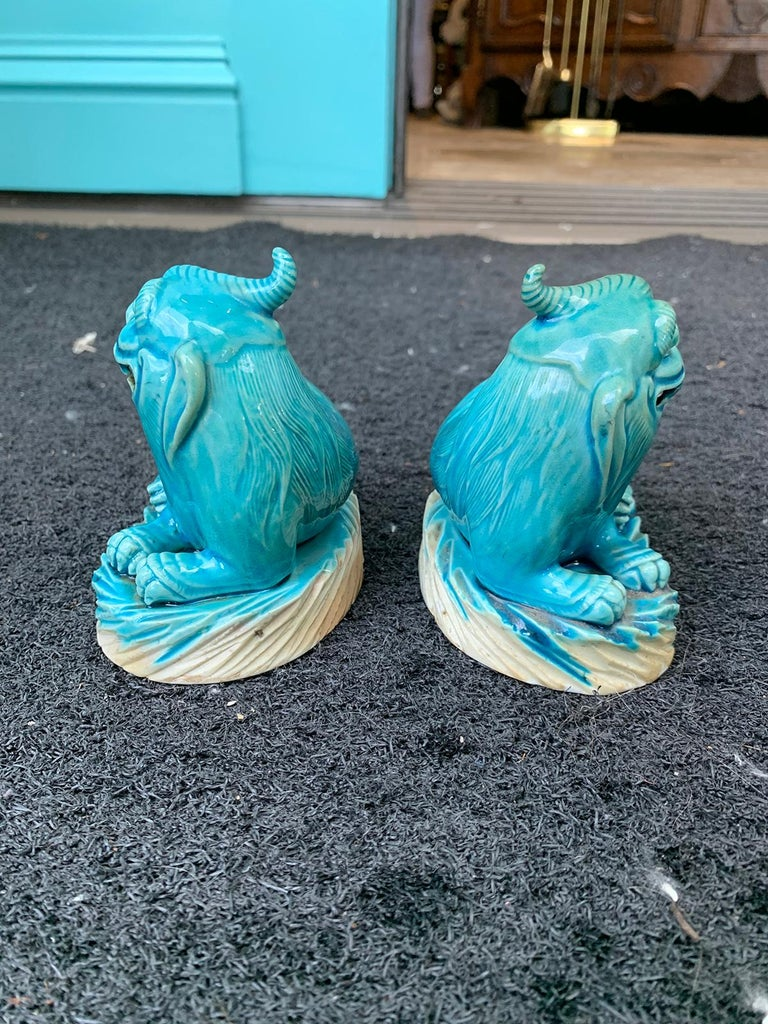 Pair of 19th Century Turquoise Painted Porcelain Foo Dogs For Sale 4