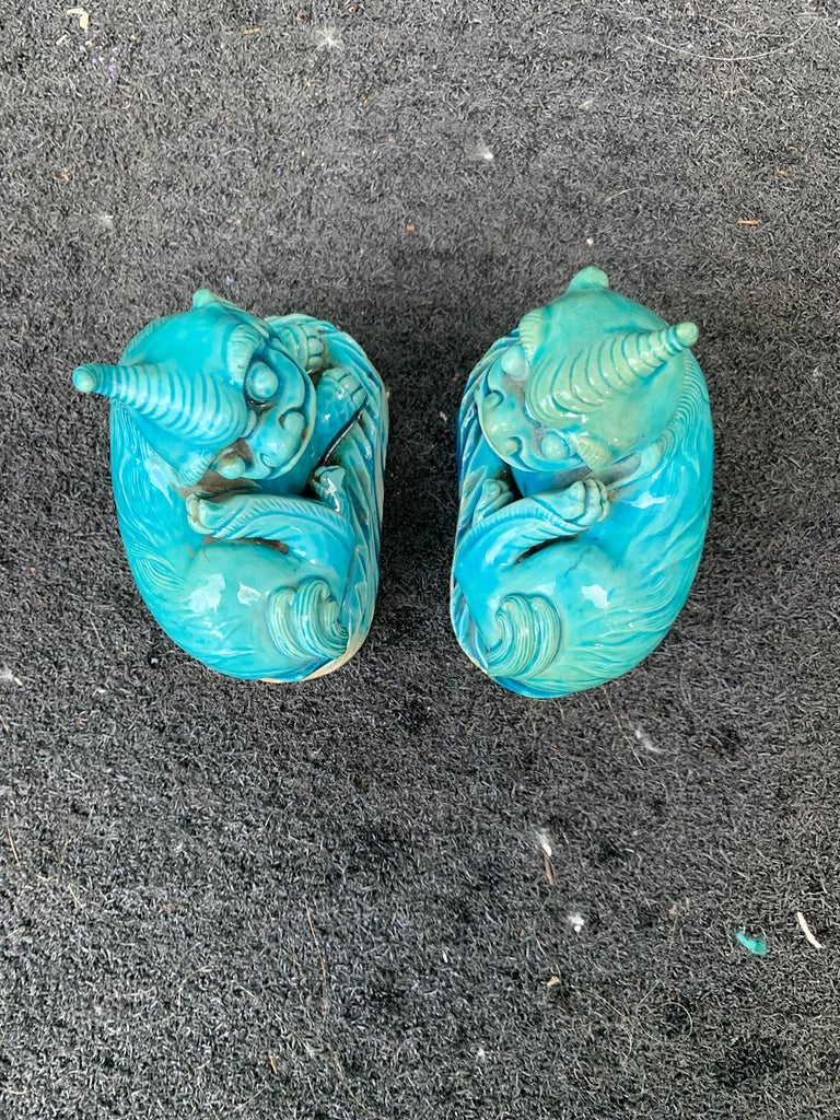Pair of 19th Century Turquoise Painted Porcelain Foo Dogs For Sale 5