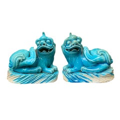 Pair of 19th Century Turquoise Painted Porcelain Foo Dogs