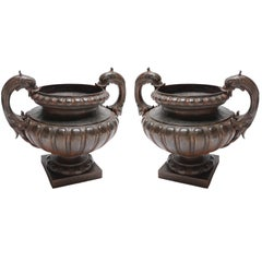 Pair of 19th Century Val d'Osne Cast Iron French Garden Urns