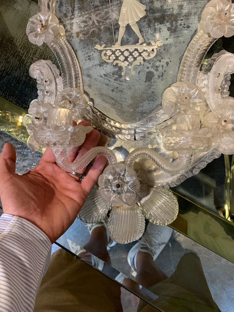 Pair of 19th Century Venetian Etched Mirror Sconces For Sale 1
