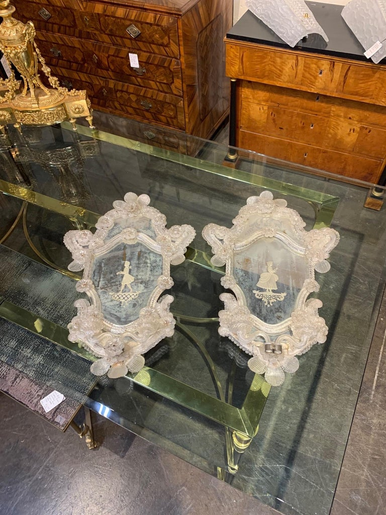 Pair of 19th Century Venetian Etched Mirror Sconces For Sale 3