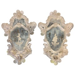 Pair of 19th Century Venetian Etched Mirror Sconces