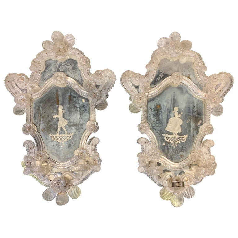 Pair of 19th Century Venetian Etched Mirror Sconces For Sale