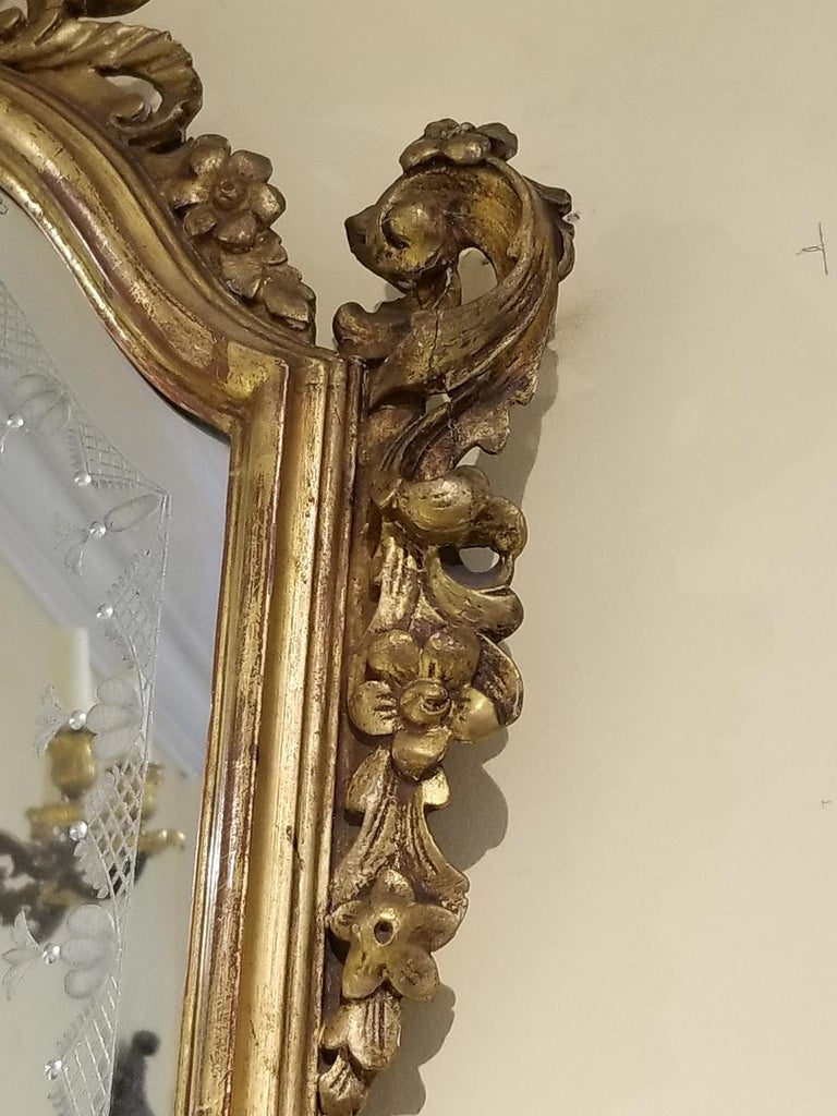 Pair of 19th Century Venetian Etched Mirrors, Cartouche Shape For Sale 6