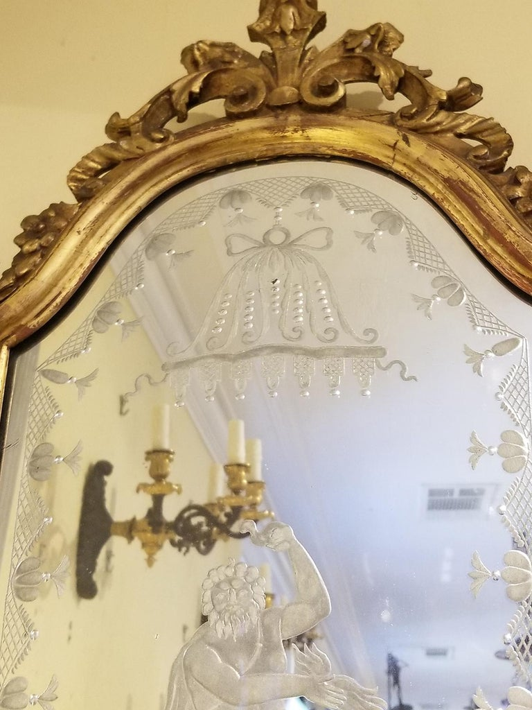 Pair of 19th Century Venetian Etched Mirrors, Cartouche Shape For Sale 7