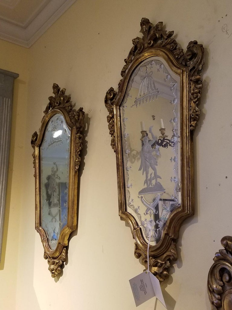 Italian Pair of 19th Century Venetian Etched Mirrors, Cartouche Shape For Sale