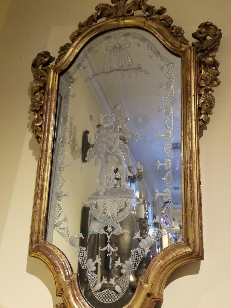 Pair of 19th Century Venetian Etched Mirrors, Cartouche Shape In Good Condition For Sale In Atlanta, GA