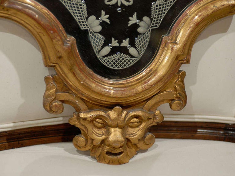 Pair of 19th Century Venetian Etched Mirrors, Cartouche Shape For Sale 2