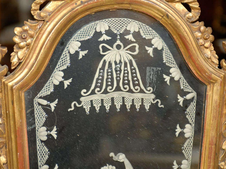 Pair of 19th Century Venetian Etched Mirrors, Cartouche Shape For Sale 3