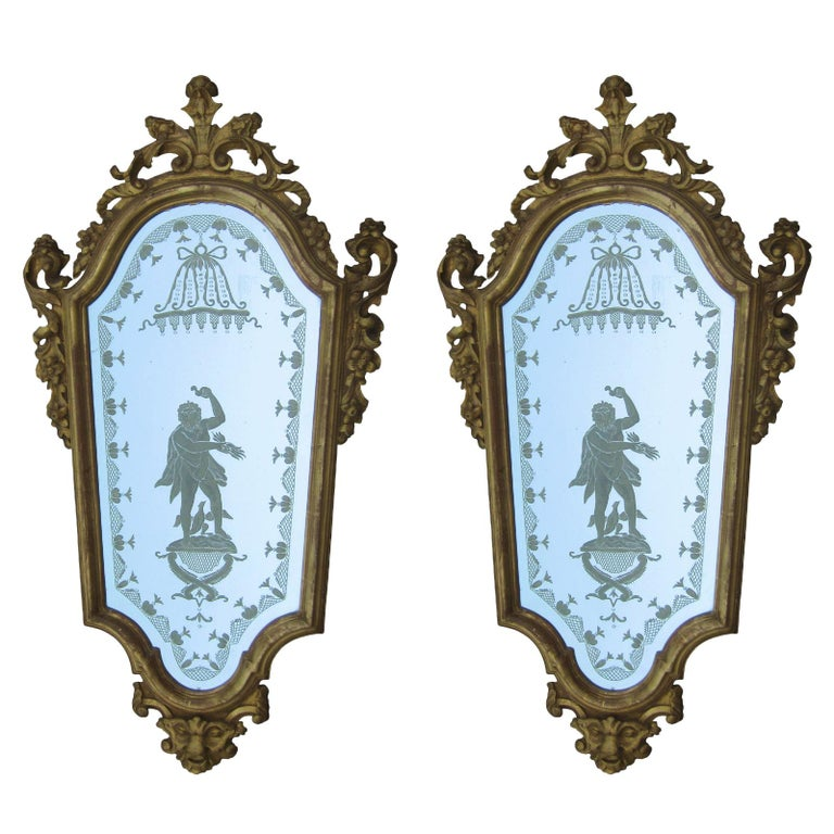 Pair of 19th Century Venetian Etched Mirrors, Cartouche Shape For Sale