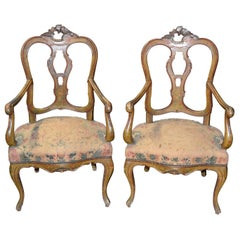Pair of 19th Century Venetian Hand-Painted Fauteuils
