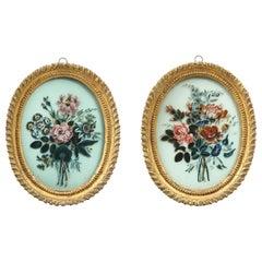 Pair of 19th Century Verre Églomisé Oval Paintings of Floral Bouquets